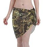 Women Beach Sarongs Sheer Cover Ups, Japanese Chinese Dragon Chiffon Bikini Wrap Skirt for Swimwear Black