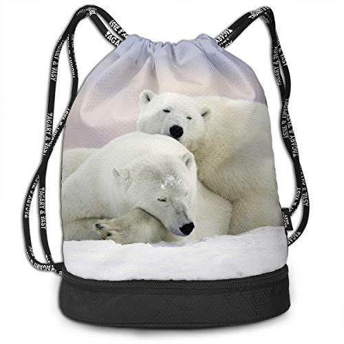Mochilas con cordón para deportes de nieve, diseño de osos de la tierra de nieve, mochila de viaje