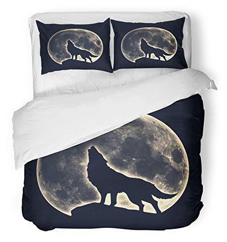 Copripiumino 3 pezzi Set Tessuto microfibra spazzolato traspirante Wicca Howling Wolf Luna piena Licantropo Silhouette nativa Magic Black Biancheria da letto americana Pagan con 2 fodere per cuscino T