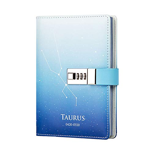 Lock Journal 12 Constellation Leather Writing Notebook Diary Personal Organizer 113 Sheets Starry Sky Paper Design Diary(Taurus)