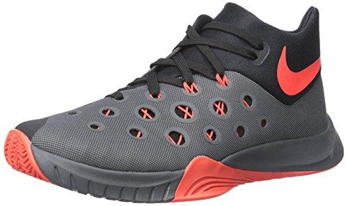 Nike Herren Zoom Hyperquickness 2015 Basketball Turnschuhe, Grau/Orange/Schwarz (Dark Grey/Bright Crimson-Black), 45 1/2 EU