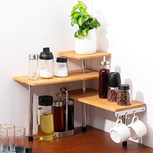 PARANTA 3-Layer Bamboo Desktop Storage Rack Corner Independent Rack Used for Kitchen Bedroom Or Office Storage with Hooks