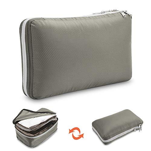 Bolsa de viaje con forma de cubo, ahorra un 50% de espacio, bolsa de ropa, bolsa de viaje, bolsa de ropa, bolsa de compresión, cubos de embalaje, organizador de maletas, bolsa de viaje, cubos, gris, L