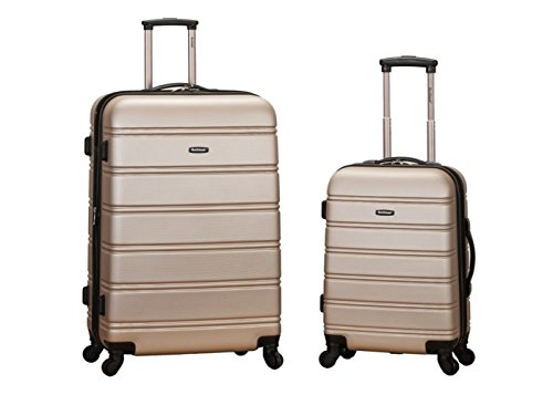 Rockland Luggage 20 Inch and 28 Inch 2 Piece Expandable Spinner Set, Champagne