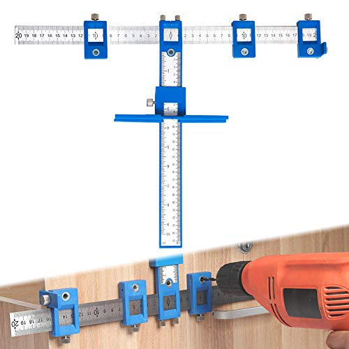 Cabinet Hardware Jig Drill Guide Template Adjustable Drawer and Door Punch Locator for Handles and Knobs Wood Drilling Dowelling Tools Set Aluminum Metal Drill Hole Jig Kit