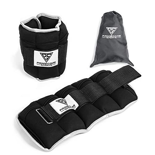 Primecore Sports Gewichtsmanschetten (2er Set) - 5kg verstellbare Gewichte für Beine und Arme mit Reflektionsstreifen - (10x500g) Ankle Weights