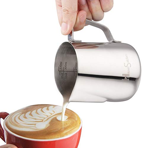 Milk Frothing Pitcher - Stainless Steel 304 Steaming Pitcher 12 Oz (350ml), Perfect for Espresso,...