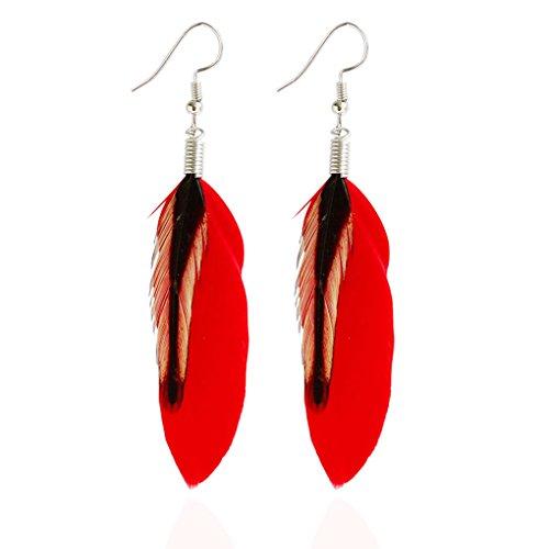 forbestest Pluma negra multicolor cuelga los pendientes Bohemia Folk Style Silver Color Drop Pendientes 6 * 3cm (rojo)