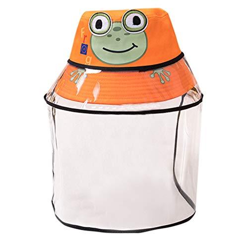 TONSEE Chapeaux De Protection pour Enfants Chapeau Anti-crachats pour Bébé Coque Amovible pour Enfants Coque Amovible Chapeau De Pêcheur (Orange,1-9ans)