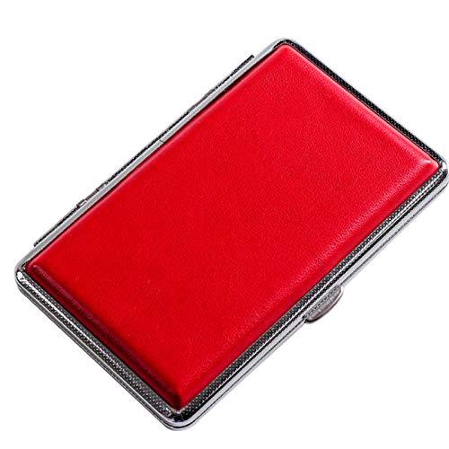 HQPCAHL Estuche para Cigarrillos para Mujer Estuche para Cigarrillos De Cuero Delgado (Capacidad 20),Rojo