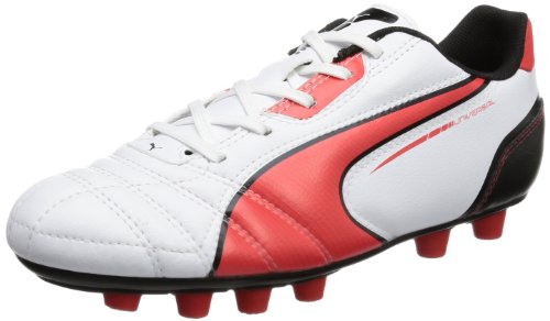 Puma Universal FG Jr 102701 Unisex-Kinder Fußballschuhe, Weiß (white-high risk red-black 06), EU 38 (UK 5) (US 6)