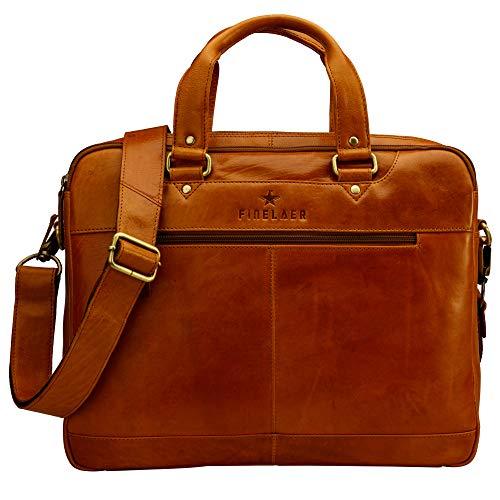 FINELAER Leather Laptop Briefcase Messenger Bag