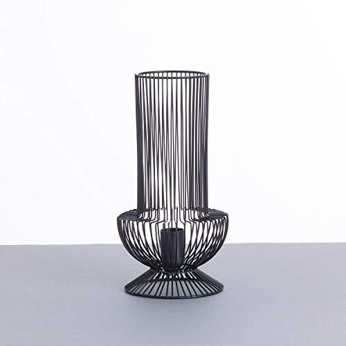 Lámpara de Mesa Industrial Moderna Negra con Tulipa Redonda | 7hSevenOn Deco Modelo YAN | Lámpara de Sobremesa de Interior para Salón, Comedor, Dormitorio. | 17,5x17,5x33cm
