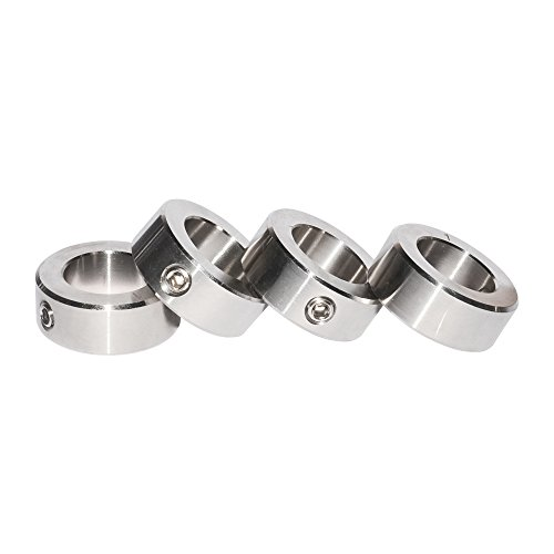 """4Pcs Stainless Steel Shaft Collars Bore 3/8 inch Out Diameter 3/4"""" with Screw Fixed"""