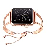 WONMILLE Bracelet for Apple Watch Band 42mm, Classy Stainless Steel Jewelry Bangle for iWatch Bands Strap Wristbands Unique Fancy Style for Women Girls with Pendant and Tassel (Rose Gold-42mm)