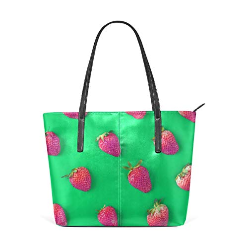 NaiiaN para Mujeres Niñas Damas Bolso de estudiante Compras Cuero Fresa Fruta Verde Bolsos lindos Bolso de mano Amor Bolsos de hombro Correa ligera