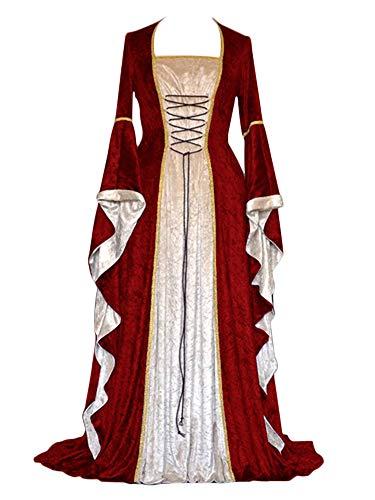 Mujer Vintage Renacentista Medieval,Mangas Largas Encantador Vestidos Vino Rojo S