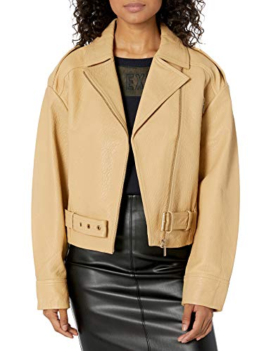 Armani Exchange AX Damen Motorcycle Style Jacket with Notched Collar and Belt Detail Lederjacke, Toffee, Large