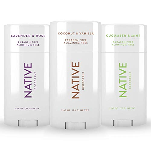 Native Deodorant - Natural Deodorant For Women and Men - 3 Pack - Contains Probiotics - Aluminum Free & Paraben Free, Naturally Derived Ingredients - Coconut & Vanilla, Lavender & Rose, Cucumber & Mint Scent