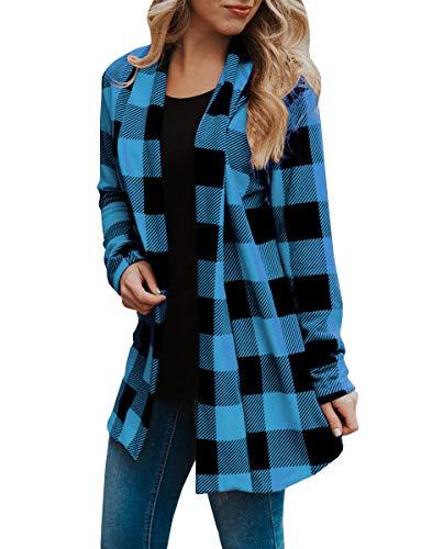 Womens Buffalo Plaid Long Sleeve Plus Size Open Front Elbow Patch Cardigans (4XL, Blue)