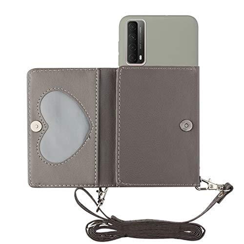 TYWZ Crossbody Hülle für Huawei P Smart 2021,Schultergurt Halsketten Brieftasche PU Leder Handykette mit Kartenhalter Silikon Case mit Kordel zum Umhängen-Grau