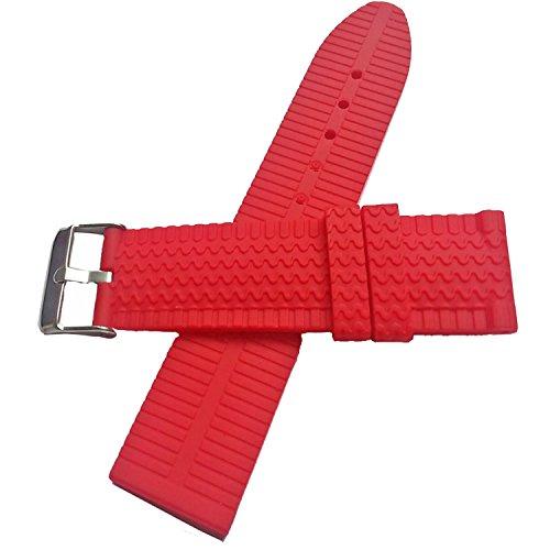 New rosso gomma orologio da polso fascia da polso 24mm Diver Sporting silicone fibbia