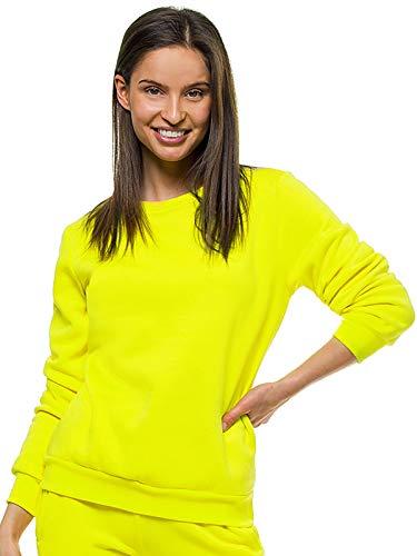 OZONEE Damen Sweatshirt Pullover Langarm Farbvarianten Langarmshirt Pulli ohne Kapuze Baumwolle Baumwollemischung Classic Basic Rundhals-Ausschnitt Sport JS/W01Z GELB-NEON L