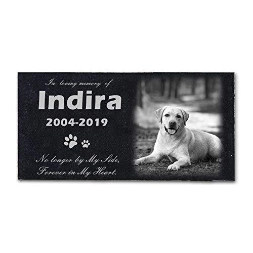 Z-Y Lápida de Perro Memorial lápida de mármol Puede Grabar Fotos de Mascotas Recuerdo Lápida Tumba del Gato del Perro for Pata del Animal, 12'x 6' Pulgadas
