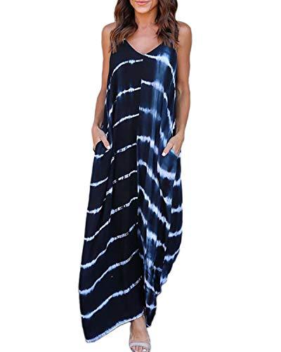 Kidsform Damen Sommerkleider Blumen Maxi Kleid Ärmellos Abendkleid Strandkleid Party Chiffon Lange Kleid D-dunkelblau XXL