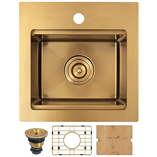 """MONSINTA Gold Bar Sink, Top Mount Bar Sink, 15"""" x 15"""" Small Single Bowl Bar Sink, RV Sink, 16 Gauge Stainless Steel Workstation Kitchen Sink with Sink Protector, Cutting Board and Sink Drain Assembly"""