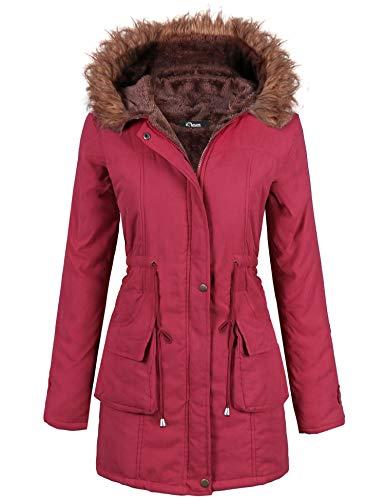 iClosam Damska kurtka zimowa parka płaszcz długa kurtka zimowa