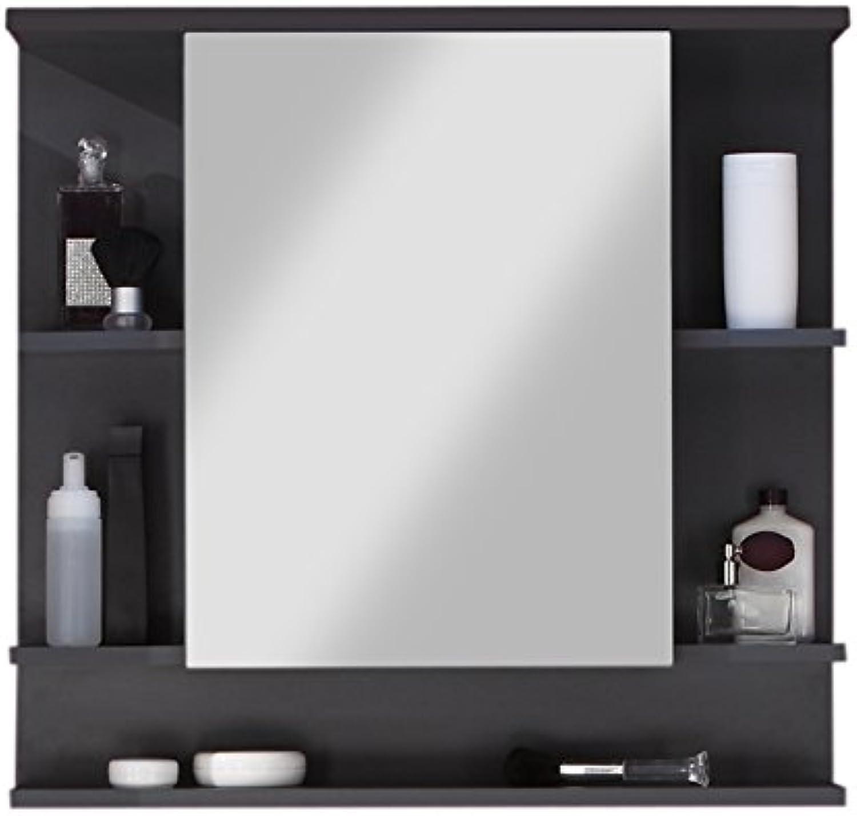Trendteam smart living Badezimmer Spiegelschrank Spiegel Tetis, 72 x 76 x 20 cm in Korpus Graphit ( Dunkelgrau), Front Hochglanz Wei mit viel Stauraum