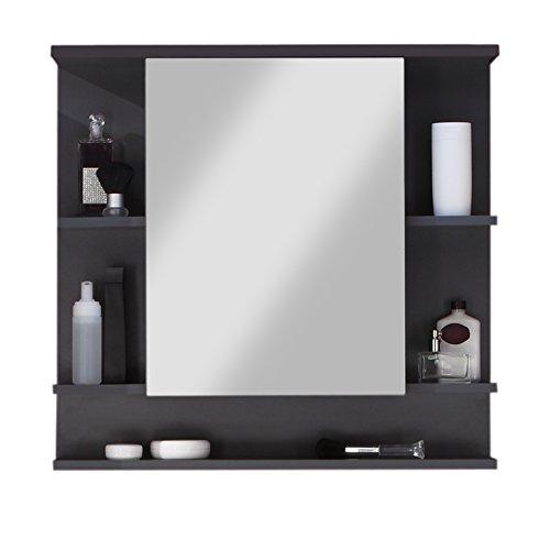 trendteam smart living Badezimmer Spiegelschrank Spiegel Tetis, 72 x 76 x 20 cm in Korpus Graphit ( Dunkelgrau), Front Weiß mit viel Stauraum