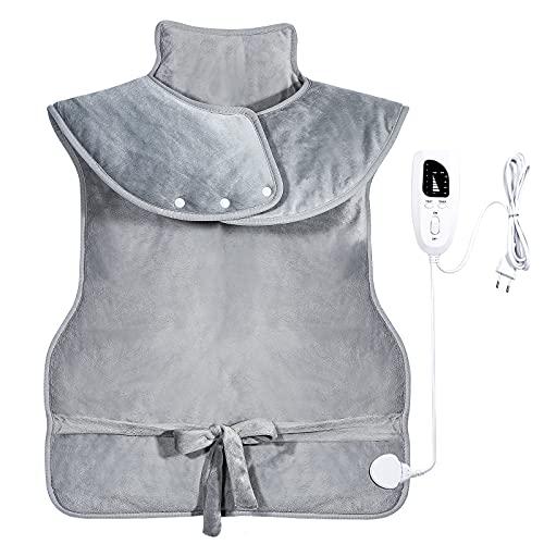 Heizkissen für Rücken Schulter Nacken, Heizkissen Rücken mit Abschaltautomatik, 94x56cm Elektrisch Wärmekissen Heizdecke mit 6 Temperaturstufen und 4 Timing-Funktion, Waschbar Heizdecke Wärmepads