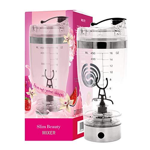 Slim Beauty MIXER • Protein Shaker Elektrisch • 450ml Mixer mit Behälter für Pulver • Micro USB Kabel, BPA-frei • Wiederaufladbar