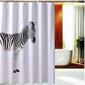 Beddingleer Duschvorhang 180x180 cm Zebra Verdicken Anti-Schimmel Textilien Polyester Wasserabweisend Dusche Vorhang Größe mit 12 Vorhangringe