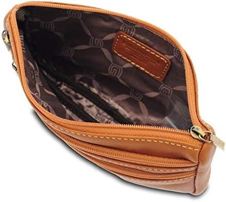 Judi ® - Sac à bandoulière pour femme en cuir de veau, attache ceinture, cuir véritable, fabriqué en Italie, marron (Marron) - 11105/VLV Nature
