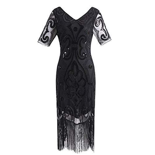 KIMODO Damen 1920er Jahre Pailletten Quaste Kleid Art Deco Ballkleid Kurzarm Cocktailkleider...