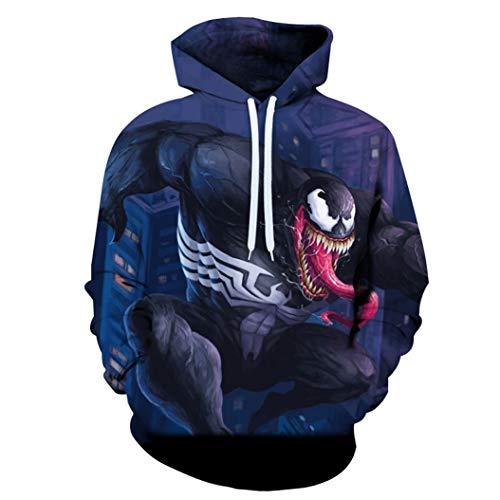 Venom película del hombre araña super héroe de Cosplay del Anime 3D de impresión con capucha Daily ropa juvenil de maquillaje adulto Ninguna cremallera de manga larga SPIDERMANHTT