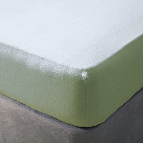 Belledorm - Sábana Bajera Ajustable (algodón Cepillado, tamaño Kingsize), Color Verde Manzana