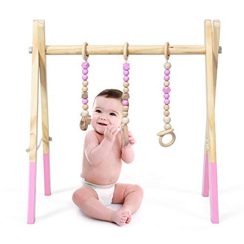 COSTWAY Palestrina per Bambini, Palestrina con Giocattoli per Dentizione Sviluppo Cerebrale Stimolazione Sensoriale, Pieghevole, in Legno, per Bambini 3+ Mesi (Rosa)