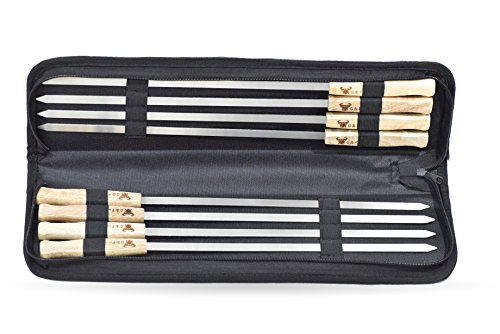 G & F Products FBA_25618 BBQ Kabob skeer, 8 Piece Skewer 17 x 3/8 Inch Blade, silver