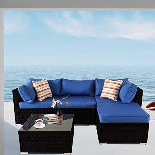 Patio Sofa 5-Piece Black PE Rattan Couch Outdoor Garden Furniture with Royal Blue Cushion