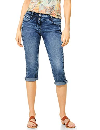 Cecil Damen 373123 TOS Charlize Zig Zag Jeans, Authentic mid Blue wash, W26/L22