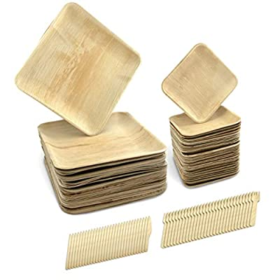 """Disposable Palm Leaf Dinnerware (120 Pack) - Compostable, Biodegradable & Eco-Friendly Square Plates with Cutlery - 30 x 10"""", 30 x 6"""" Plates, 30 Wood Forks & 30 Knives - Ideal for Party, Wedding, BBQ"""