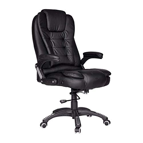DJDLLZY Silla de oficina de cuero para juegos – Silla de escritorio ejecutiva de altura ajustable, acolchado grueso para comodidad y diseño ergonómico con soporte lumbar y apoyabrazos, negro