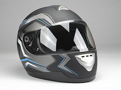 BNO Integralhelm Motorradhelm Helm F500 erschiedene Farben (XS,S,M,L,XL,XXL) (XL, Matschwarz-Blau)
