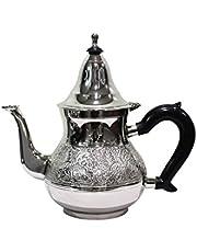 Marokański dzbanek do herbaty z mosiądzu posrebrzany 800 ml z sitkiem i uchwytem z tworzywa sztucznego   orientalny dzbanek Eldina 800 ml w kolorze srebrnym z pokrywką   różne rozmiary   (800 ml)