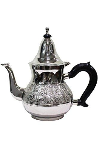Marokkanische Teekanne aus Messing versilbert 1,6 L mit Sieb und Kunststoffgriff | Orientalische Kanne Eldina 1600ml silberfarbig mit Deckel (1600ml)