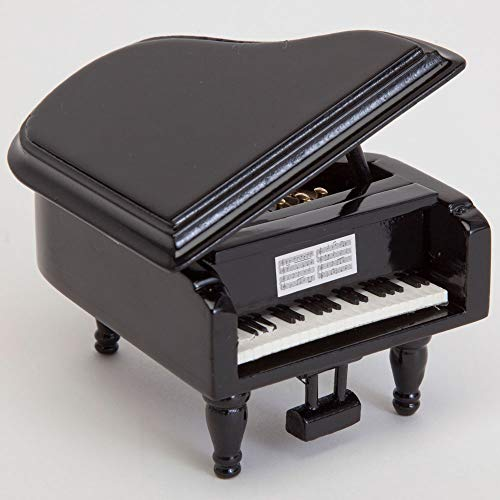 Bits and Pieces - Mini Musical Grand Piano Music Box Plays Memories - Wooden Wind-Up Music Box Plays for Two Minutes